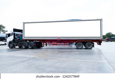 container trucks Logistic by Cargo truck on the road .empty white billboard .Blank space for text and images.
