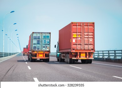 container trucks on the bridge, modern intermodal logistics background