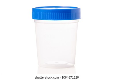 Container for urine on white background isolation