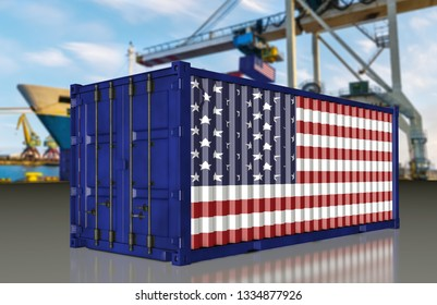 container in US national colors at the port
