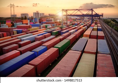 Container vagoons in export and import business and logistics. Aerial view