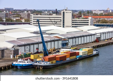 Container vessel in port Rotterdam, Netherlands.