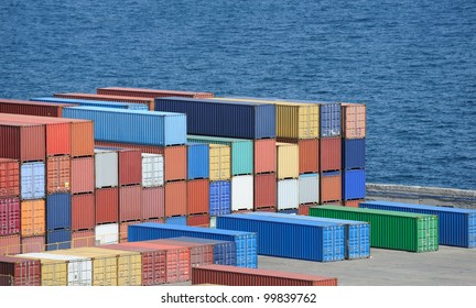 container warehouse near the sea