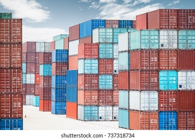 container yard closeup against a blue sky