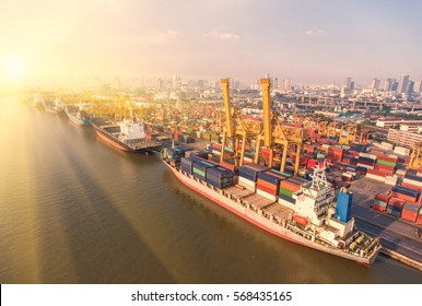 container,container ship in import export and business logistic,By crane ,Trade Port , Shipping,cargo to harbor, Aerial view,Water transport,International,Shell Marine,transportation,logistic,top view