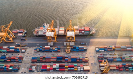 container,container ship in import export and business logistic,By crane,Trade Port , Shipping,cargo to harbor.Aerial view,Water transport,International,Shell Marine,transportation,logistic,trade,port
