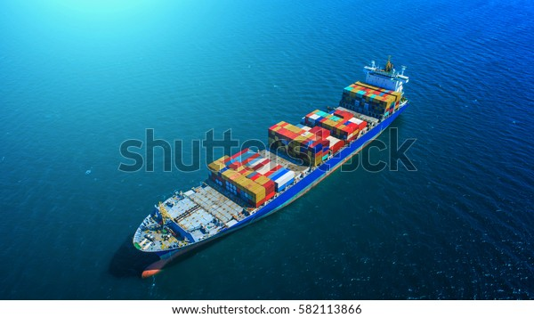 container,container ship in import export and business logistic,By crane ,Trade Port , Shipping,cargo to harbor, Aerial view,Water transport,International,Shell Marine,transportation,logistic