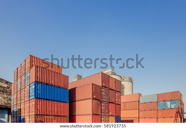 Containers box from Cargo freight ship for import export,logistic concept