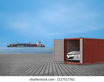 containers at dock side with car and ship