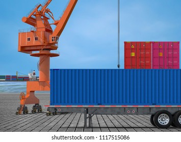 containers at dock side  with crane