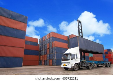 Containers at the Docks with Truck
