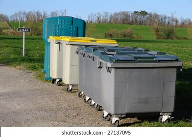 containers for the garbage, in countryside.
