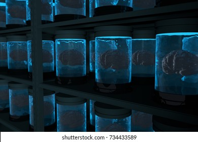 Containers with Human Brains stored on shelves. Brain Replication Research concept. 3D Illustration.