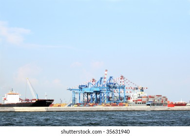 Containers in an Industrial Port