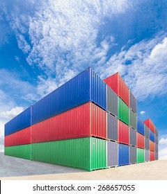 containers in industrial port authority