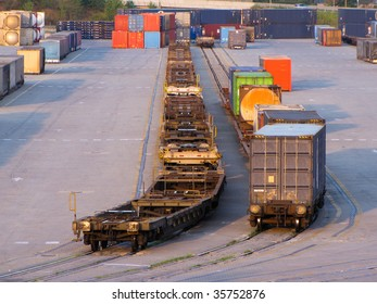 containers loaded on rail track for departure