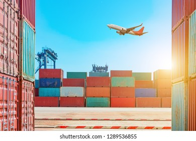 Containers on the wharf. Port logistics transportation.