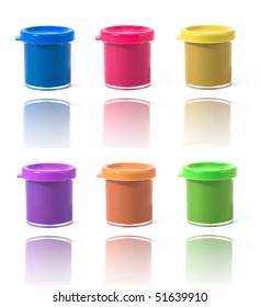 containers with paint isolated on white