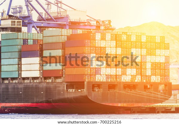 Containers Port Loading Job By Crane Stock Photo (Edit Now) 700225216