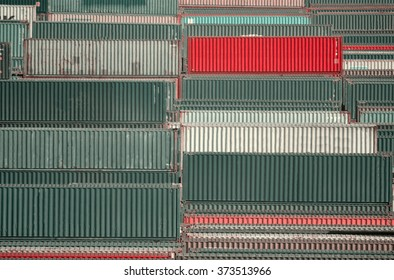 The containers in port warehousing rows green gray and red