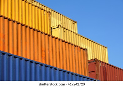 containers ready to be shipped on trucks, trains or ships