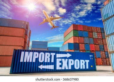 Containers shipping, container box loading for logistic Import Export concept