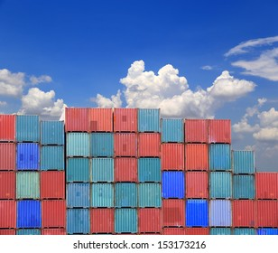 Containers shipping in yard with blue sky