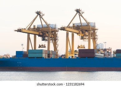 containers vessel shipping from the industrial port for logistics
