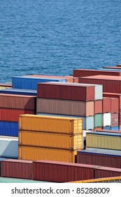 containers warehouse and sea background