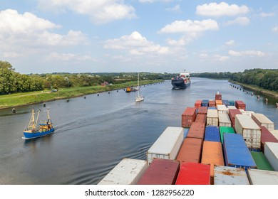 Containervessel on Kiel Canal, Germany