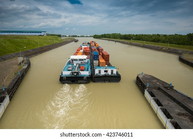container-vessel transportation on river