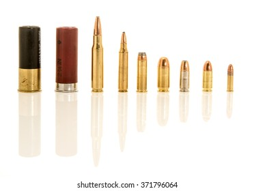 Containing both shotgun shells, rifle and handgun bullets in different calibers. Included  12 gauge, .308 or 7.62mm NATO, .223 or 5.56mm NATO, .45, .38 special, 9mm hollow point, 9 mm, .22 long rifle.