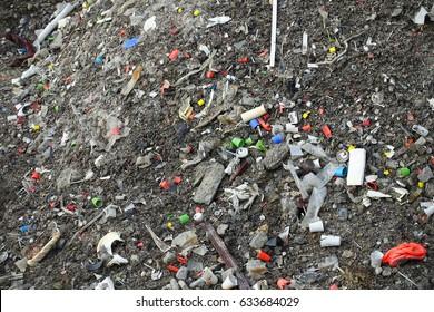 contaminated soil, plastic pollution