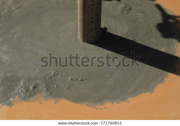 Contamination Environment Pollution Cement Milk Flowing Stock Photo