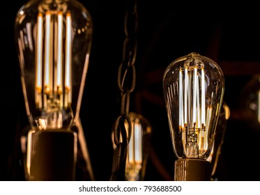 Contamplorary LED light bulds made to look like old school edison style light bulbs. Creating old style look and saving energy.