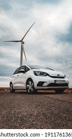 Contanta, Romania - August 15 2020: Honda Jazz Hybrid front end, grill, headlights and wheel details