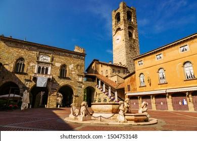 Contarini fountain on Piazza Vecchia, Citta Alta, Bergamo city, Italy