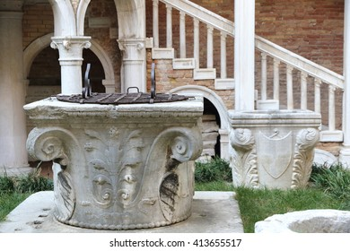 Contarini palace in Venice Italy Well detail on January 22, 2016,