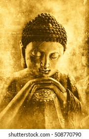 Contemplating Buddha textured in golden tones with a brighter and a darker side of the face with scratches and stains.