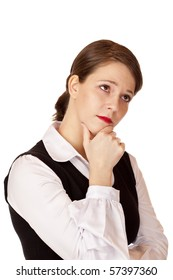 Contemplative business woman with crossed arms thinks about problem solving.  Isolated on white background.