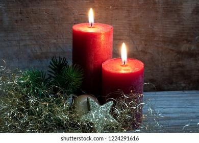Contemplative Christmas motif with red candles