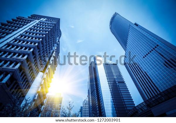 Contemporary architectural office building, urban landscape, per