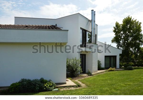 Contemporary Architecture Country House Megliadino Italy Stock ...