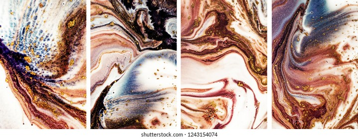 Contemporary art. Art&Gold. Mixed paints with golden powder. A collection of abstract paintings. Marbling paper.