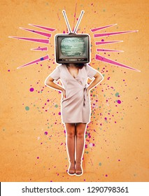 Contemporary art collage, addicted woman hands on hips and old tv instead of head. Modern style poster zine culture concept. Television manipulation and brainwashing. Mass media propaganda control.