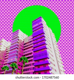 Contemporary art collage.  Architecture and tropical concept