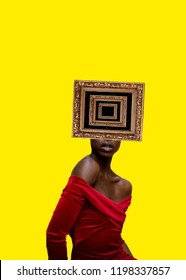 Contemporary art collage. Black Woman with frames as a head.