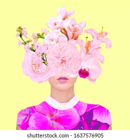 Contemporary art collage. Bloom Flowers Lady