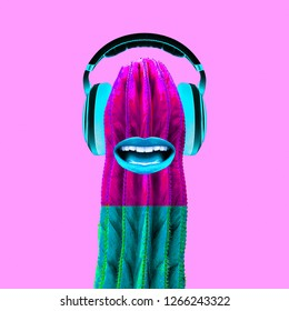 Contemporary art collage.  Cactus Dj. Colorful music vibes