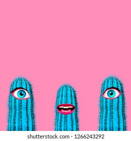 Contemporary art collage. Cactus set with human eyes and lips. Minimal funny Art
